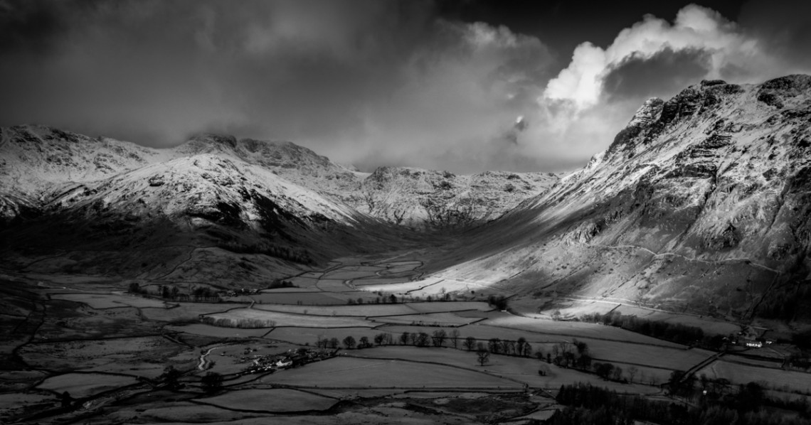 The Langdales, Lake District, Black and White