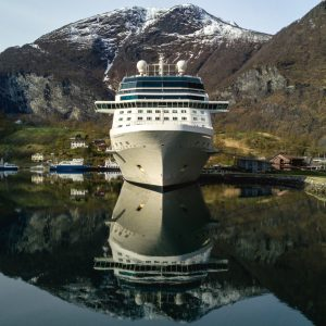 Celebrity Eclipse in Geiranger, Aerial – Print