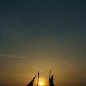 Aruba Sunset Boat – Portrait Print
